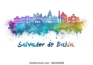 Salvador de Bahia skyline in watercolor splatters with clipping path