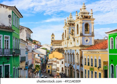 "SALVADOR - DECEMBER 27: Pelourinho  (""Pillory""), is a historic neighborhood in western Salvador, Bahia. It was the city's center during the Portuguese colonial period , on December 27, 2015."