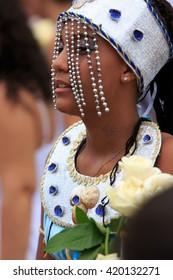 SALVADOR - FEBRUARY 2: Iemanja Party, Afro-Brazilian Festival, Girl dressed as Iemanja, Rio Vermelho Salvador, February 2, 2016, Brazil.