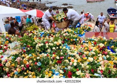 SALVADOR - FEBRUARY 2: Iemanja Party, Afro-Brazilian Festival, Basket of Flowers offering to Iemanja, Rio Vermelho Salvador, February 2, 2016, Brazil.