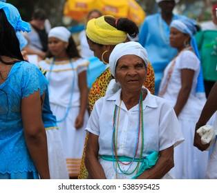 SALVADOR - FEBRUARY 2: Iemanja Party, Afro-Brazilian Festival, Rio Vermelho Salvador, February 2, 2016, Brazil.