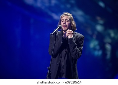 Salvador Sobral. Representative of Portugal in Eurovision song contest 2017. Dress rehearsal on the main stage of contest before the final performance. Kyiv, Ukraine. May 12, 2017