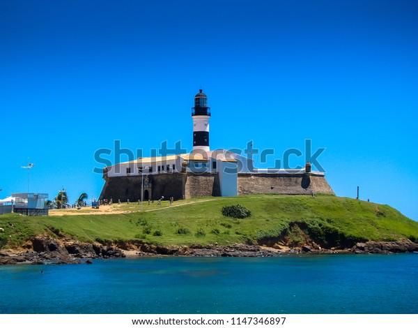 Salvador/BA/Brazil - 02-07-2009: Barra Lighthouse or Santo Antônio Lighthouse built in the 17th century