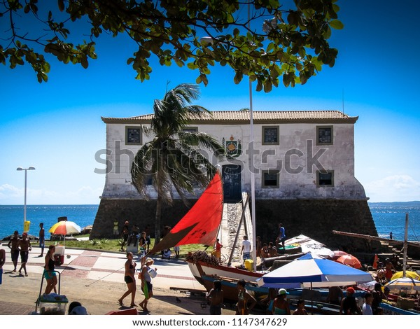 Salvador/BA/Brazil - 02-07-2009: The Forte de Santa Maria is located on the beach of Porto da Barra, in the neighborhood of Barra and was erected from 1614