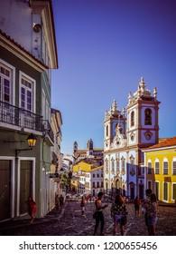 Salvador/BA/Brazil - 09-09-2018: Largo do Pelourinho overlooking the Church of Our Lady of the Rosary of the Blacks
