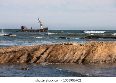 Salvage work on the wreck of a ship on the Skeleton Coast in Namibia.