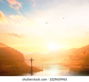 Salvation concept: The Cross symbol of Jesus Christ and church of God