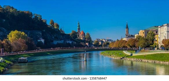 Salzach River in historic centre of Salzburg
