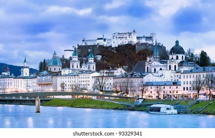 Salzburg in the Alps mountain, Austria, panoramic view in the early morning light