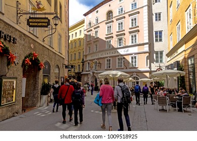 SALZBURG - AUGUST 15, 2017: View of famous medieval streets of Salzburg, Austria. Currently a lively shopping area. Wolfgang Amadeus Mozart was born