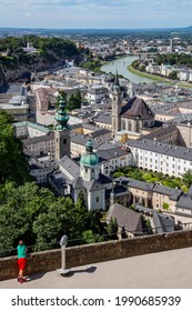 Salzburg. Austria. 08.04.16. View from Hohensalzburg Castle over he city. The Old Town (Altstadt) has one of the best-preserved city centers north of the Alps. and is a UNESCO World Heritage Site.
