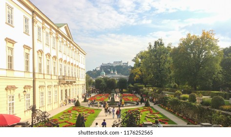 salzburg, austria, 09/20/2017. Beautiful view of famous Mirabell Gardens with the old historic Fortress Hohensalzburg in the background in Salzburg, Austria