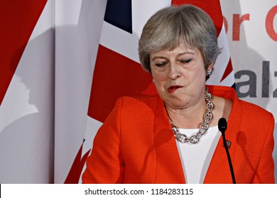 Salzburg, Austria 20th Sep. 2018. Prime Minister of the UK, Theresa May gives a press conference on the results of Informal meeting of the 28 heads of state or government.