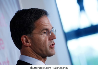 Salzburg, Austria 20th Sep. 2018. Prime Minister of Netherlands,  Mark Rutte gives a press conference on the results of Informal meeting of the 28 heads of state or government.