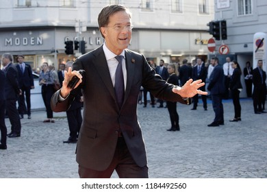 Salzburg, Austria 20th Sep. 2018. Prime Minister of Netherlands,  Mark Rutte arrives for an Informal meeting of the 28 heads of state or government.