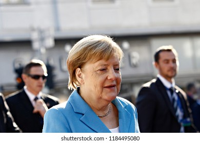 Salzburg, Austria 20th Sep. 2018. Chancellor of Germany, Angela Merkel arrives for a meeting with European Union leaders Informal meeting of the 28 heads of state or government.