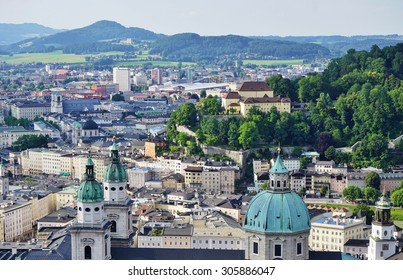 SALZBURG, AUSTRIA -25 JUNE 2015- View of the city center of Salzburg seen from the Hohensalzburg Fortress.