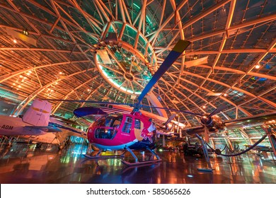 SALZBURG, AUSTRIA - 25th November 2016: Hangar 7 popular landmark in Salzburg with exhibits of aircraft and vehicles of aerobatic team enthusiasts 'Flying Bulls' close to Salzburg airport