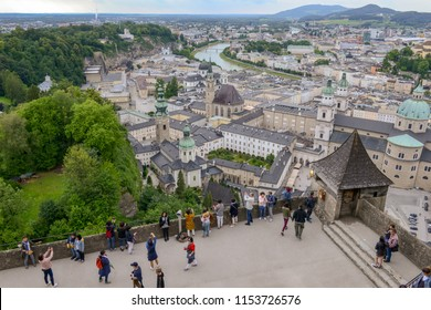 Salzburg, Austria - 26 June 2018: View from Hohensalzburg Castle on the old center of Salzburg on Austria