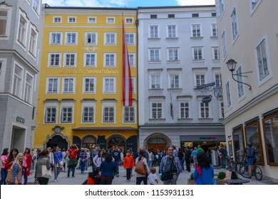 Salzburg, Austria - 26 June 2018: Birth house of Wolfgang Amadeus Mozart in Salzburg on Austria