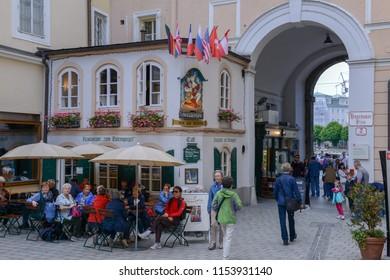 Salzburg, Austria - 26 June 2018: pedestrian way in the old center of Salzburg on Austria