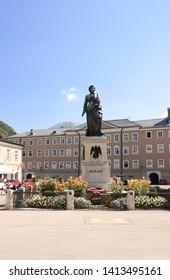 SALZBURG, AUSTRIA - 3 SEPTEMBER, 2013: The statue of the famous composer Wolfgang Amadeus Mozart on Mozart Square (Mozartplatz)