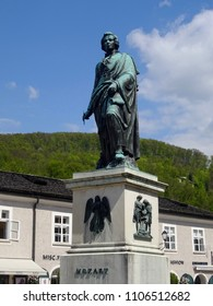 Salzburg, Austria -Apr 17th 2018, Mozart statue in the Mozart Platz.