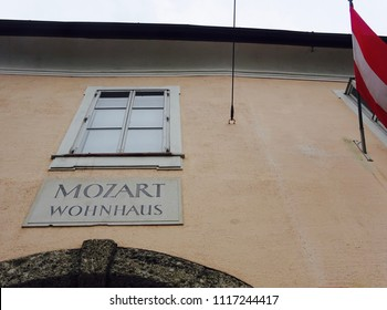 Salzburg, Austria -Apr 17th 2018: Mozart residence. Mozart lived in this house from 1773 to 1787. Now it is the museum.