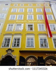 Salzburg, Austria -Apr 17th 2018: Mozart birthplace. W. A. Mozart was born in 1756 at No. 9 Getreidegasse in Salzburg.