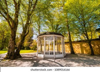 "Salzburg, Austria - April 18, 2018: The ""Sound of music"" pavillion in Helbrunn park  where ""Sixteen Going on Seventeen"" scene was shoot."
