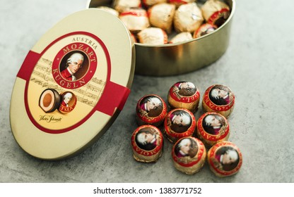 Salzburg, Austria - April 20th 209: Number one souvenirs from Salzburg are probably these so called Mozartkugeln, literally Mozart Balls, a delicious chocolate praline invented two centuries ago