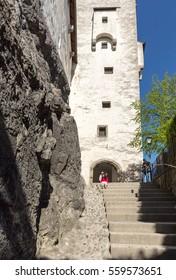 SALZBURG, AUSTRIA - APRIL 29, 2016: Fortress Hohensalzburg, beautiful medieval castle in Salzburg, Austria