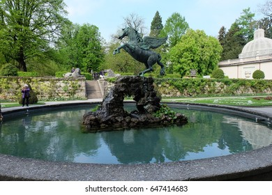 SALZBURG, AUSTRIA. APRIL 29:  An Unidentified Female Photography Sculpture in the Mirabell garden. on APRIL 29, 2017 in Mirabell garden Salzburg, Austria.