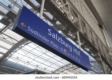 Salzburg, Austria - August 10, 2016: The sign of Salzburg train station on August 10, 2016.