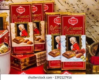 Salzburg, Austria - August 27 2011: The famous Mozart chocolates in Salzburg