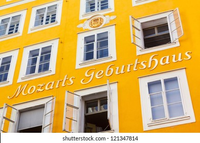 SALZBURG, AUSTRIA - AUGUST 28: Birthplace of Wolfgang Amadeus Mozart on August 28, 2012 in Salzburg, Austria. Mozart is known to be one of the most brilliant composers of the Classical Era.