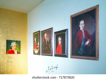 Salzburg, Austria - August 3, 2016:  W.A. Mozart portraits in the family house in Mozart square