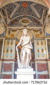 Salzburg, Austria - August 4, 2016:  The niche with the statue of Hercules in the University courtyard