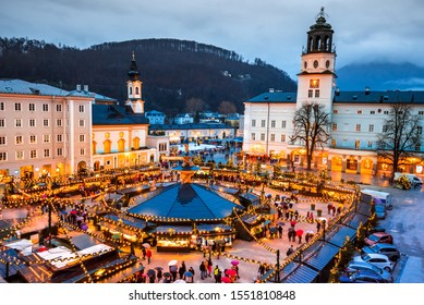 Salzburg, Austria. Christmas market at Cathedral Square, origins of Christkindlmarkt X-mas fair go back to the late 15th century.