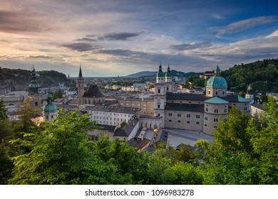 Salzburg, Austria. Cityscape image of the Salzburg, Austria with Salzburg Cathedral during spring sunset.