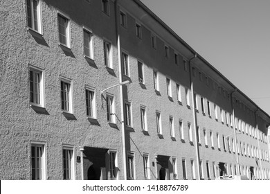 Salzburg, Austria - December 13, 2018: Block of flats in the suburbia. Building for the working class, erected presumably in the 1950s. Salzburg city, district Lehen, Austria, Europe.