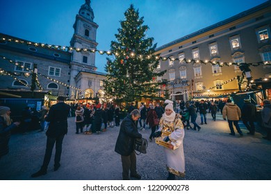 Salzburg, Austria - December 2018: The Christmas Market in Residenzplatz at night