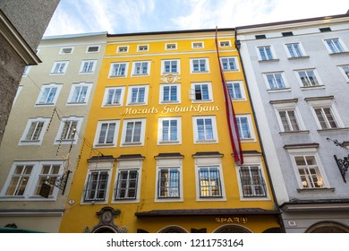 SALZBURG, AUSTRIA - DECEMBER 25, 2016: Birthplace of composer Wolfgang Amadeus Mozart in Salzburg, Austria in a beautiful day
