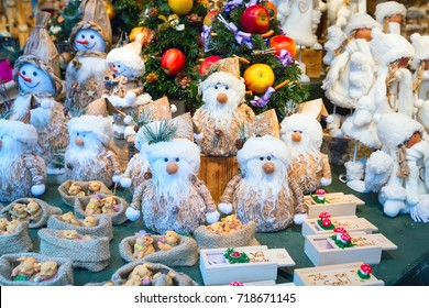 Salzburg, Austria - December 25, 2016: Christmas market stall with gifts and souvenirs for sale