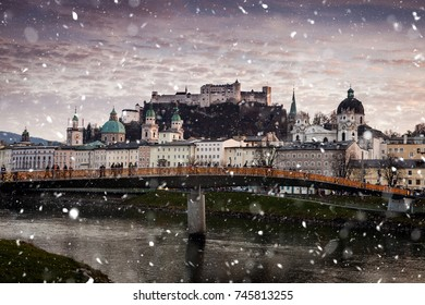 Salzburg, Austria - December 25, 2016: The historical center and streets of Salzburg are decorated for Christmas on December 25, 2016 in Salzburg, Austria.