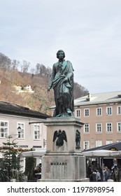 Salzburg / AUSTRIA - DECEMBER 26,2016: Mozart statue on Mozart Square (Mozartplatz) located at Salzburg, Austria