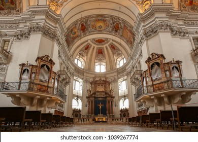 SALZBURG, AUSTRIA - February 23, 2018: The Salzburg Cathedral (Salzburger Dom) is a 17th century cathedral dedicated to Saint Rupert with colorfill painted ceiling.