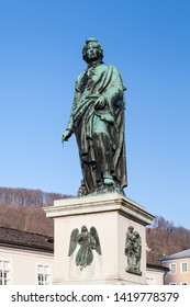 SALZBURG, AUSTRIA - FEBRUARY 25:  A bronze statue dedicated to Wolfgang Amadeus Mozart is pictured on February 25, 2018.  The monument is located in Mozart Square and was unveiled in 1842.
