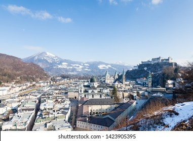 SALZBURG, AUSTRIA - FEBRUARY 25:  Salzburg's Old Town pictured on February 25, 2018.  In the foreground is Collegiate Church and in the background is Gaisberg a mountain to the East of the city.