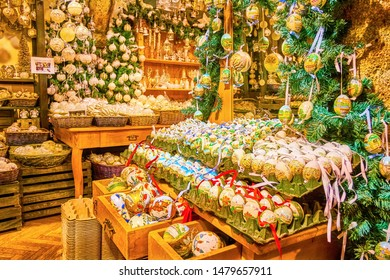 SALZBURG, AUSTRIA - FEBRUARY 27, 2019: The wonderful collection of unique handicraft toys and eggshells with traditional and author's  paint decorations in Christmas Shop, on February 27 in Salzburg